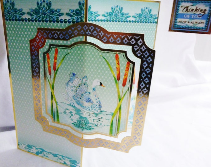 Oriental Style Greeting card, Birthday card, Thinking of You, Swan, Reeds, Turquoise, Female,  Any Age, Mum, Sister, Daughter, Niece, Aunt