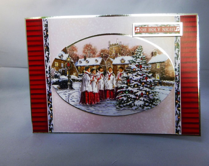 Choir Boys Singing, 3 D Decoupage Card, Village Scene, Oh Holy Night, Choristers Around A Tree, Festive Greetings, Christmas Greetings