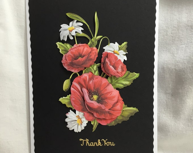 Red Poppy Thank You Card, Especially For You, Special Day, 3D Decoupage Card, Special Thanks, Special Greetings, Handmade In The UK,