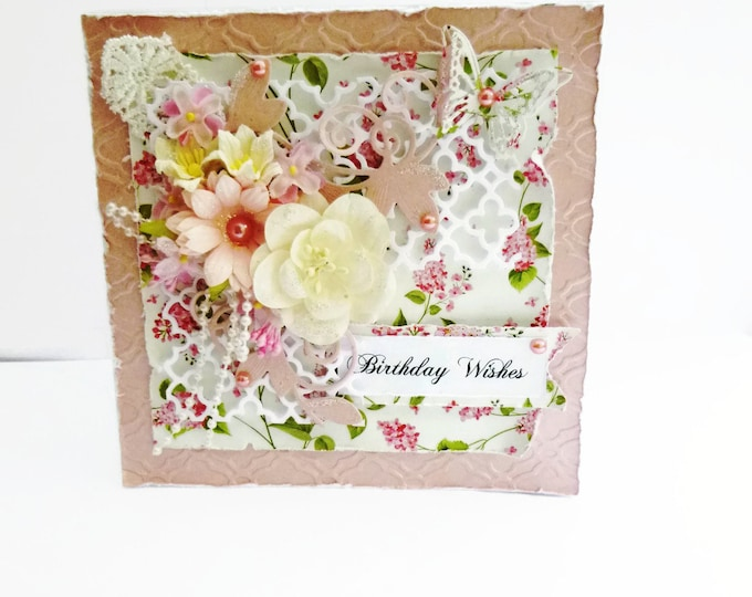 Shabby Chic Style Card, Birthday Wishes Card, Pink And White Flowers, Pearls And Butterfly, Special Card