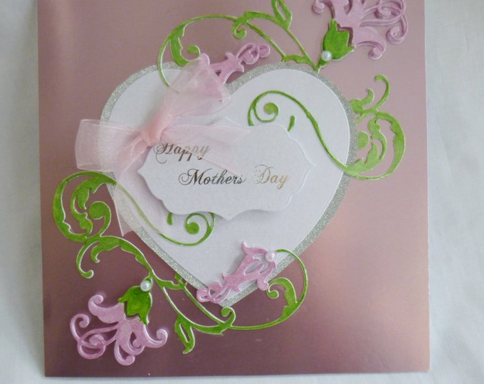 Mother's Day Card, Special Mother Card, Greeting Card, Happy Mothers Day Card,  Large Heart, Pink Flowers, Any Age,