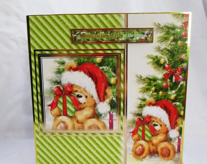 Teddy Bear Christmas Card, Handmade In The UK, Presents, Christmas Time, Seasonal Greetings, Festive Greetings, Lots Of Love At Christmas