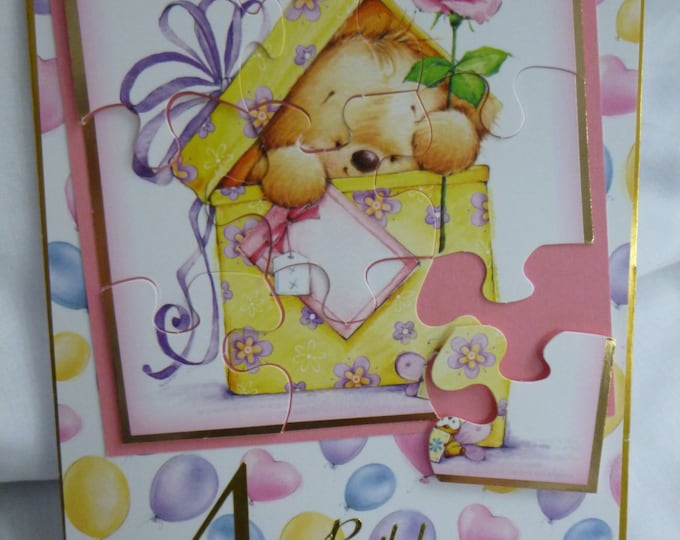 Girls Card, Pink Teddy Puzzle Card, Birthday Card, Greeting Card, 4 Year Old,  Puzzle Card