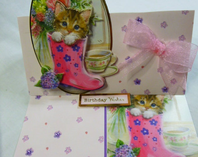 3 D Decoupage, Birthday Card, Handmade Card, Kitten Card, Birthday Wishes, Special Day, Easel Card, Kitten in Boot, Pink Bow,