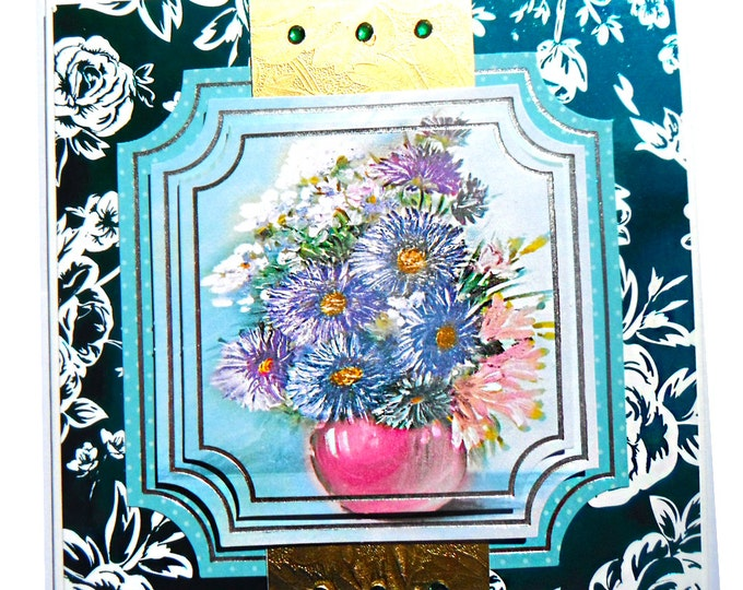 Blue Daisies in a Pink Vase, 3D Decoupage, Birthday Card, Greeting Card, Any Occasion, Especially For You, Floral, Dark Green