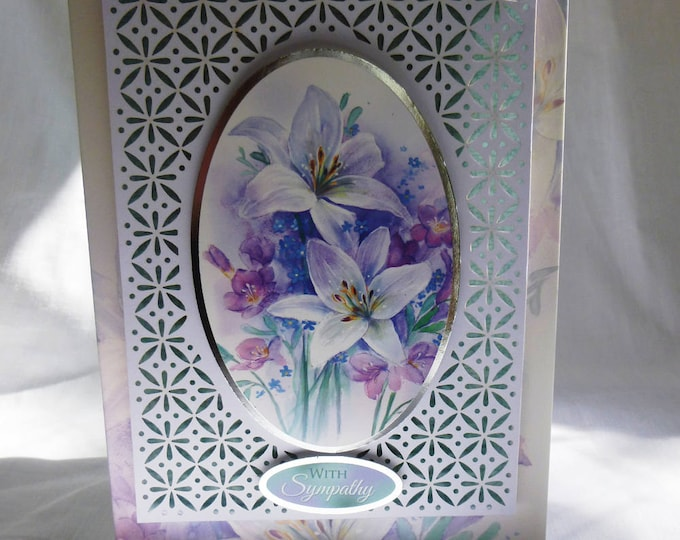 Sympathy Card, Sorry To Hear, Filigree Card, Decoupage Card, Lilies and Freesias, Thinking Of You, Condolences, Handmade In The Uk