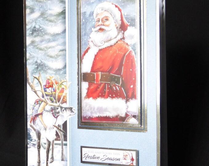 Santa And His Reindeer Traditional Card, Christmas Greetings, Festive Fun, Festive Time, Festive Season, Celebration Time, Handmade