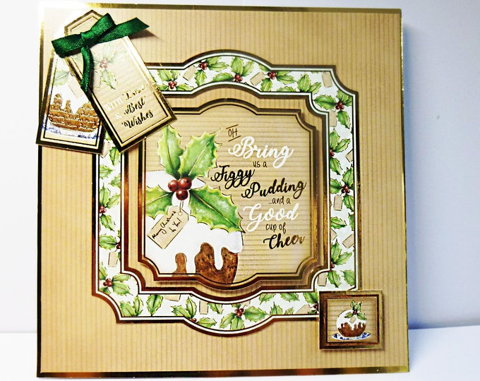 Christmas Greeting Card, Festive Card, Christmas Pudding Card, Figgy Pudding, Card For Mum, Card For Dad, Card For Sister,