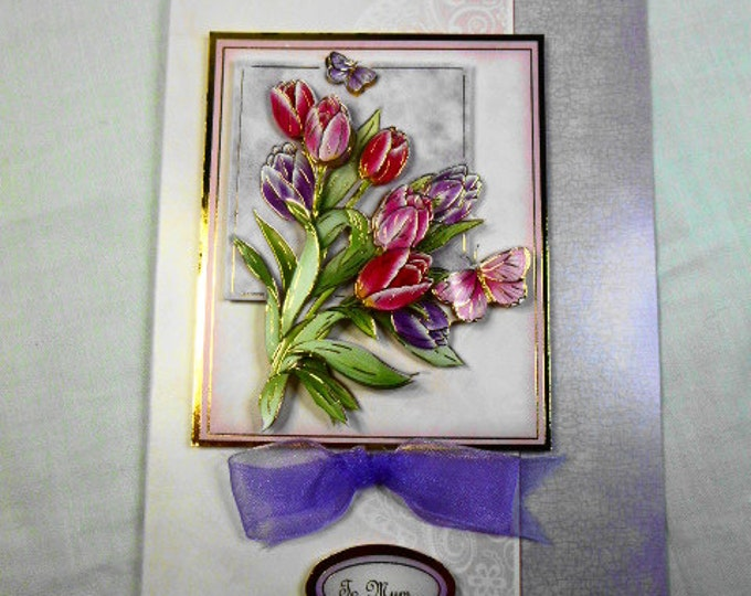 Pink and Lilac Tulips, 3 D Decoupage, Birthday Card, Best Wishes, Especially For You, Special Birthday, Special Day, Celebrate a Your Day