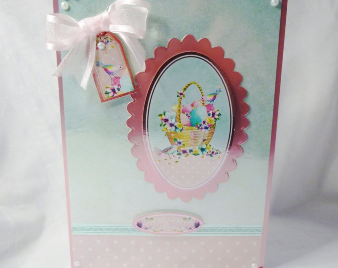 Easter Card, Greeting Card, Easter Wishes, Seasonal Greetings, Eggs In A Basket, Special Greetings, Handmade In The Uk