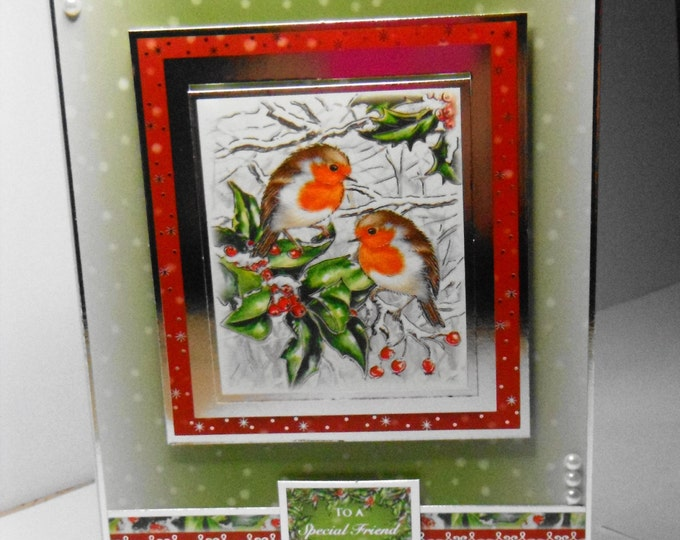 Robin Christmas Card, Traditional Card, Greeting Card, Robins and Holly, Christmas Celebrations, Festive Season, Seasonal Greetings