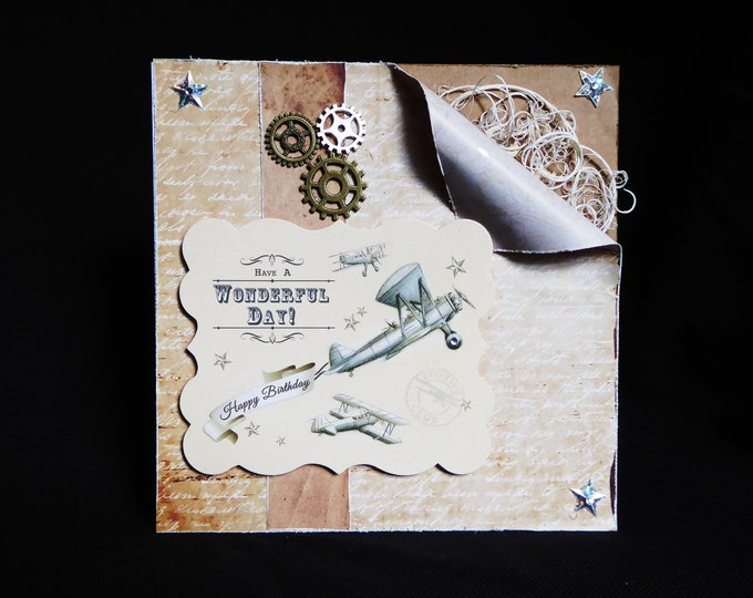 Mans Shabby Chic Style Card, Vintage Card, Aeroplane Card, Especially For You, Happy Birthday, Have A Wonderful Day, Handmade In The UK