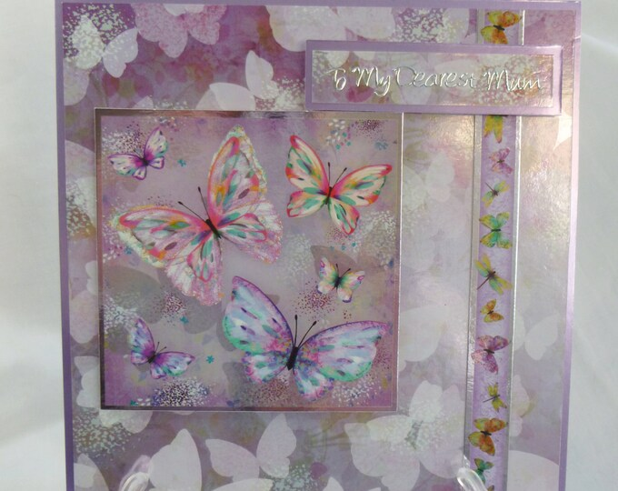 Butterfly Birthday Card, Dearest Mum Birthday Card, Floral and butterflies, Pink and Lilac, Special Birthday, Birthday Wishes, Handmade