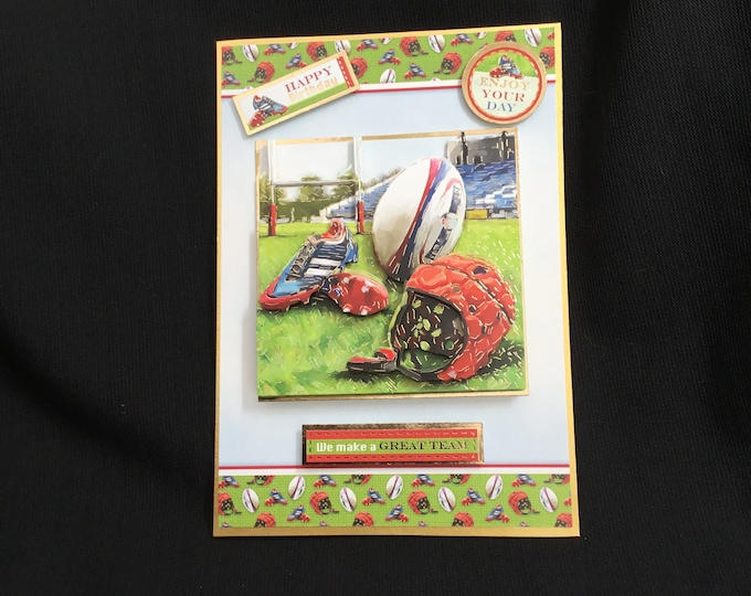 Rugby Birthday Card, Especially For You, Special Day Card, 3D Decoupage Card, Happy Birthday, Handmade In The UK