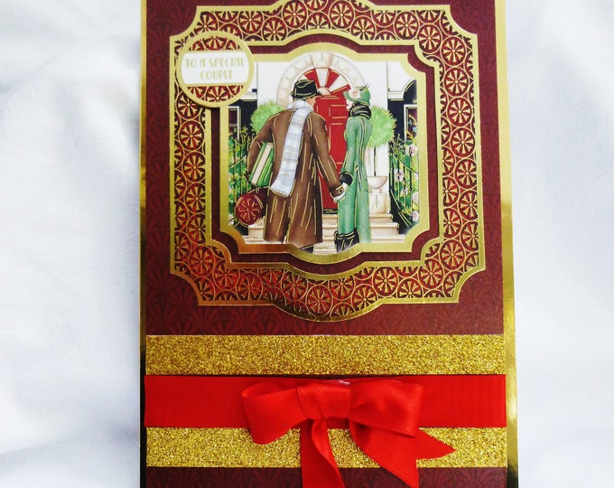 Art Deco Christmas Greeting Card, Christmas Wedding Card, Anniversary Card, To A Special Couple, Festive Card, Red And Gold,