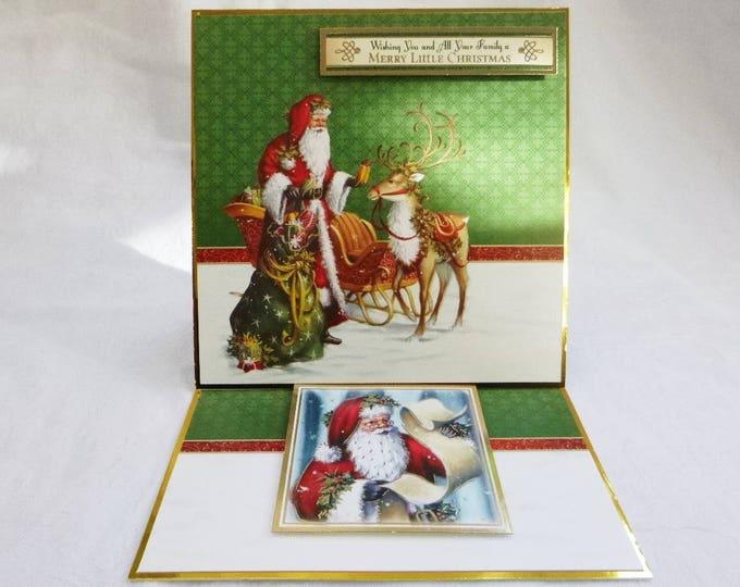 Traditional Christmas Card, Greeting Card, Easel Card, Santa and his Reindeer, Seasonal Greetings, Festive Season, Christmas Time, Handmade