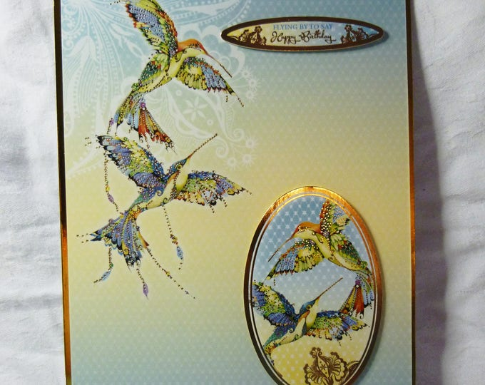 Humming Birds In Flight, Exotic Birds, Oriental  Card, Special Birthday, Especially For You, Special Day, Celebrate Your Day, Handmade