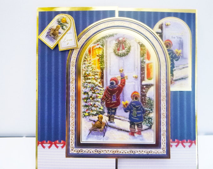 Traditional Christmas Card, Two Children Knocking On A Door, Especially For You, Sent With Love, Seasons Greetings, Festive Fun