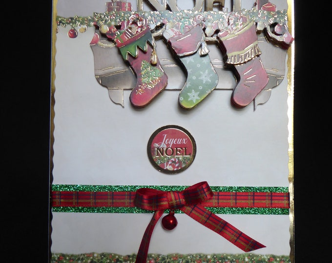 A 3D Decoupage Christmas Card, Festive Card, Seasonal Greetings, Christmas Greetings, Celebration Time, Handmade In The UK