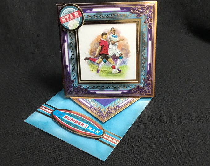 Football Card, Twisted Easel Card, Especially For You, Special Day Card, Concept Card, Handmade In The UK,