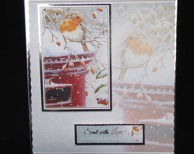 Robin Card, Bird Card, Winter Scene, Snow Scene, Seasons Greetings, Christmas Greetings, From Our Home To Yours, Handmade In The UK