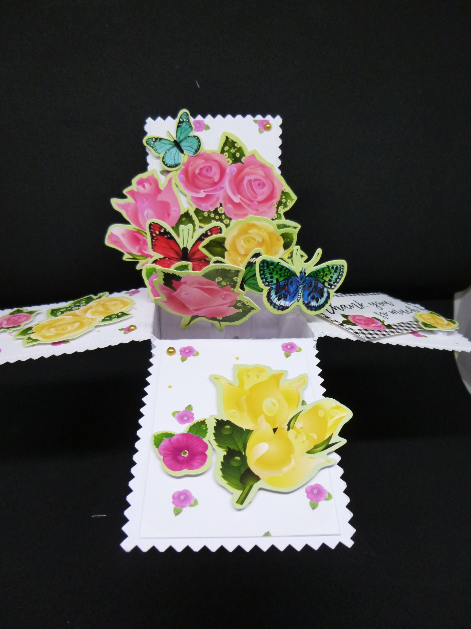 3 d pop up card floral card flowers and butterflies birthday card 3 d pop up card floral card flowers and butterflies birthday card thank you card greeting card any age female izmirmasajfo