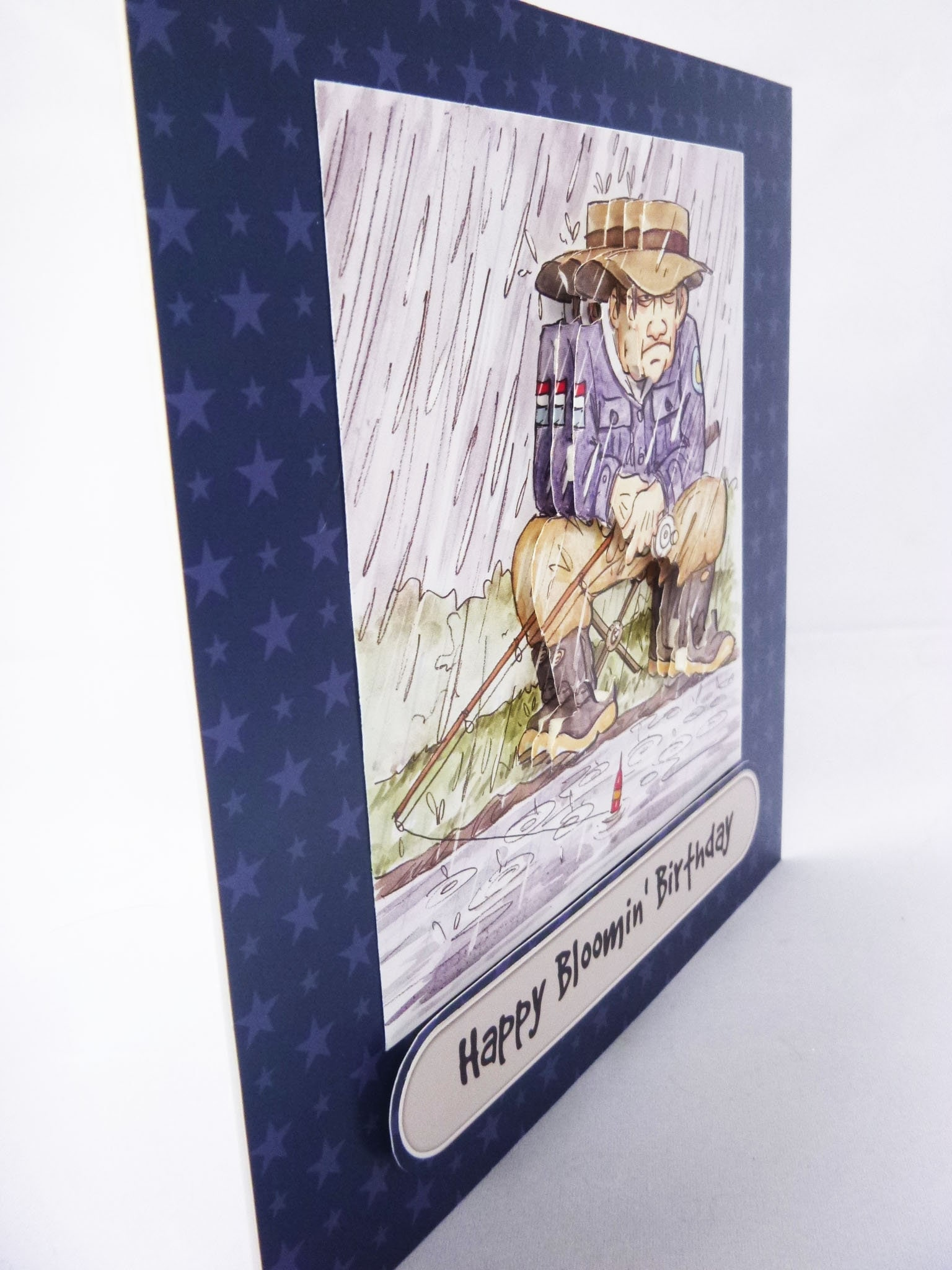Fishing in the rain grumpy old man birthday greeting card 3d gallery photo gallery photo m4hsunfo