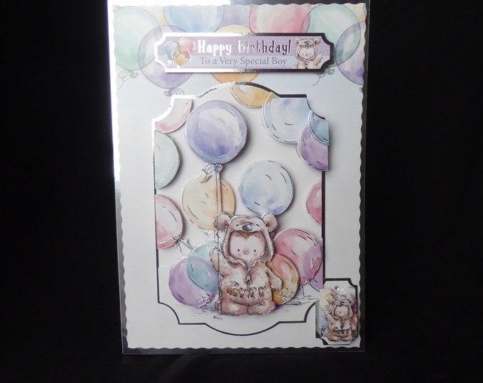 Party Bear Birthday Card, 3D Decoupage Card, Special Boy, Special Day, Special Birthday, Especially For You, Birthday Boy, Handmade