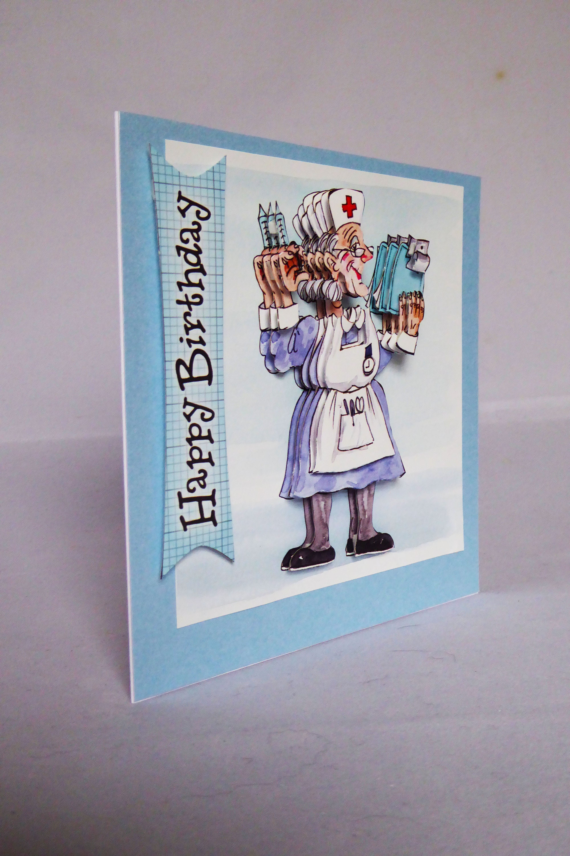 Nurse 3 D Decoupage Card Happy Birthday Best Wishes Novelty Medical Not Well Get Better Soon Handmade In The UK