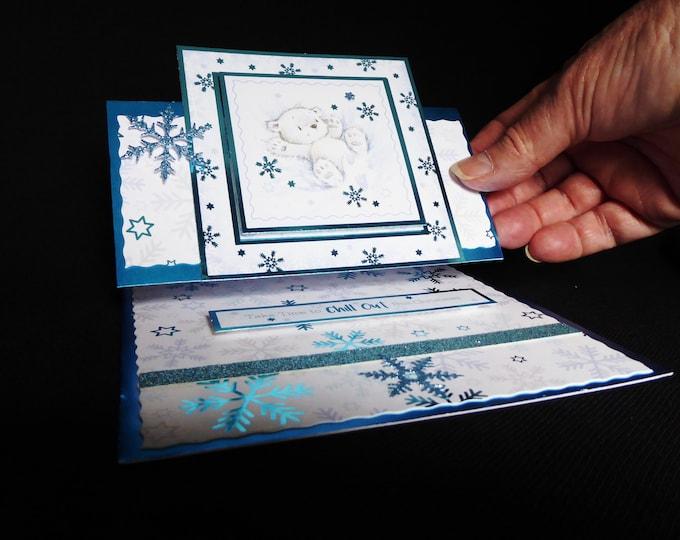 Polar Bear Easel Card, Bear Card. Winter Scene, Seasonal Greetings, Festive Season, Festive Fun, Christmas Greetings, Handmade In The UK