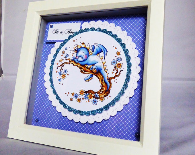 Shadow Box Picture, New Baby Gift, Special New Baby, Its A Boy, Congratulations, Celebration Gift, Personalised, Handmade In The UK