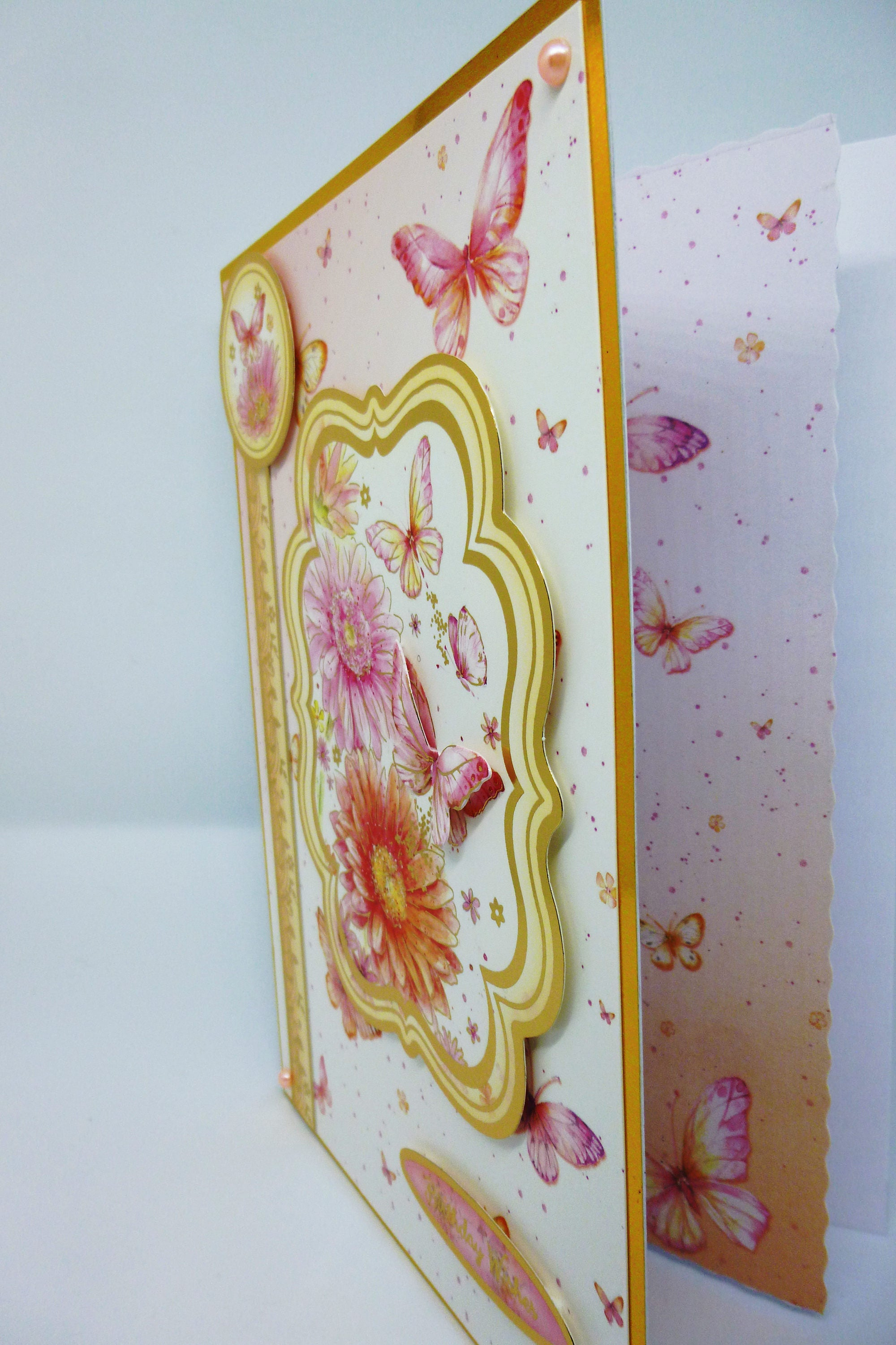 Floral Birthday Card Flowers And Butterflies Greeting Card