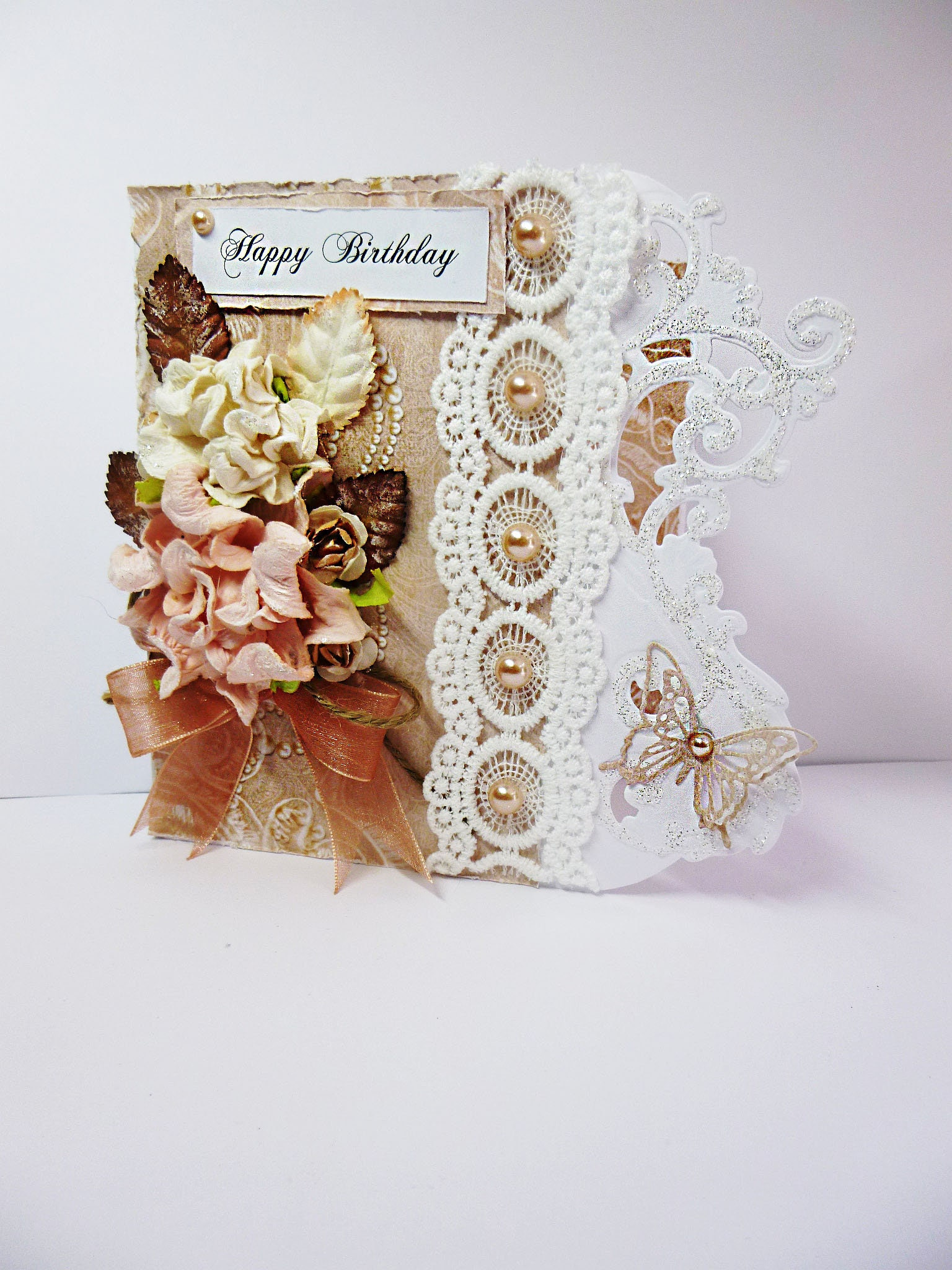 Shabby Chic Birthday Card Vintage Flowers And Lace Female For Mum Sister