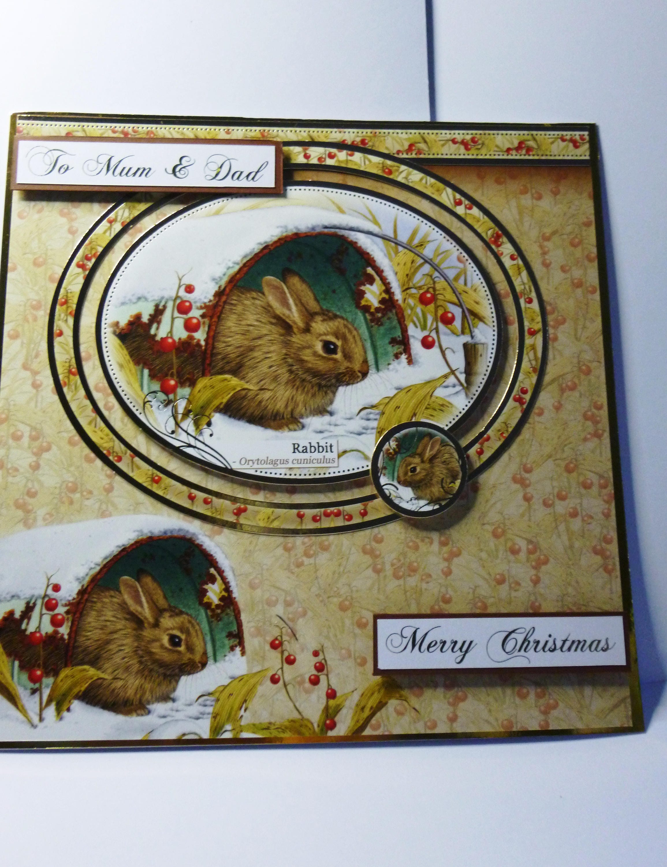To Mum and Dad Christmas Card, Greeting Card, Winter Scene, Rabbit ...