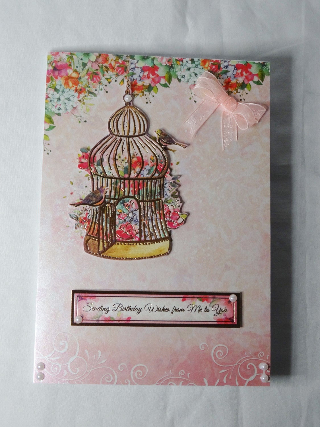 Gold Bird Cage Birthday Card Greeting Card Pink Floral Birds