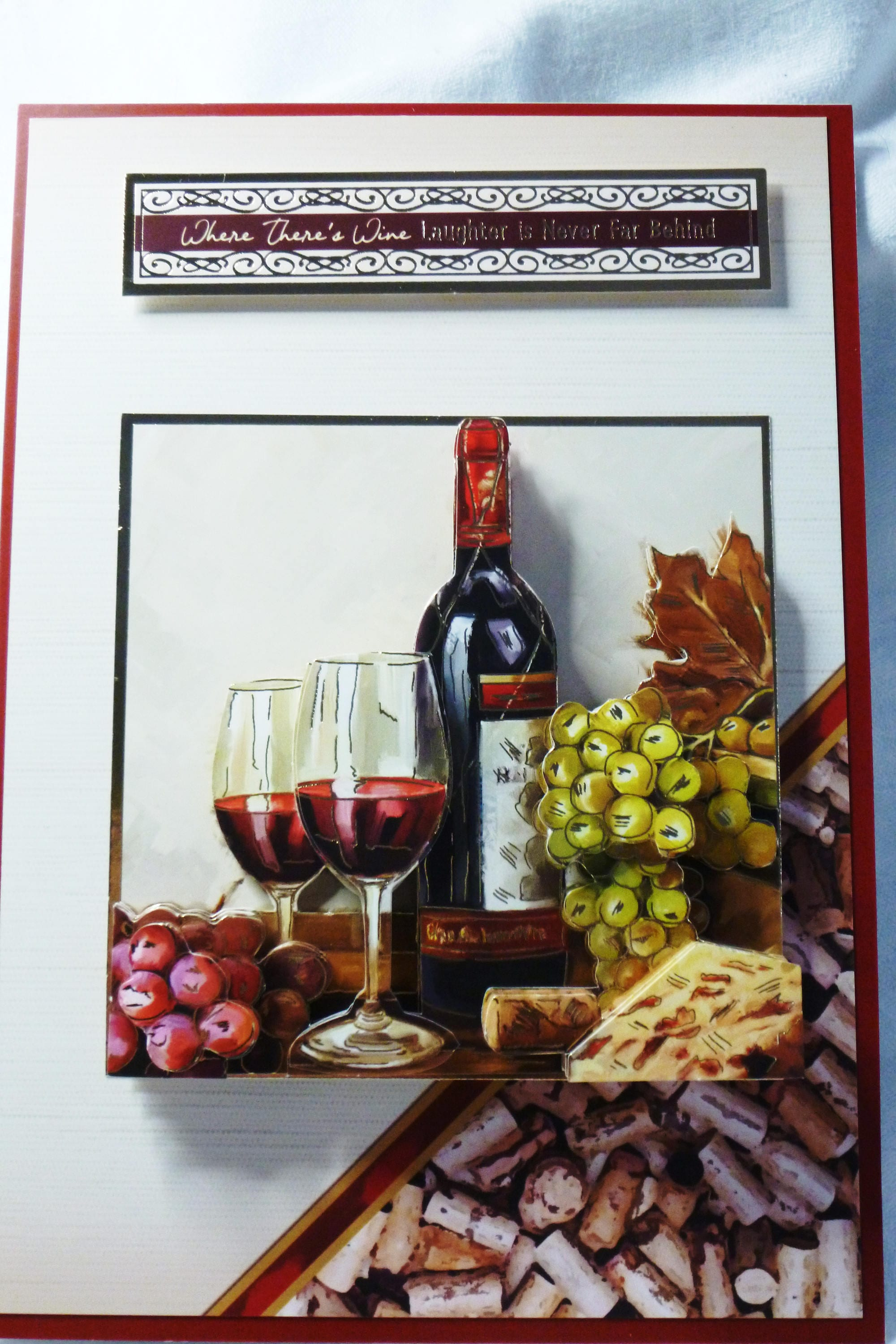 Wine For Two 3 D Decoupage Card Birthday Card Greeting Card