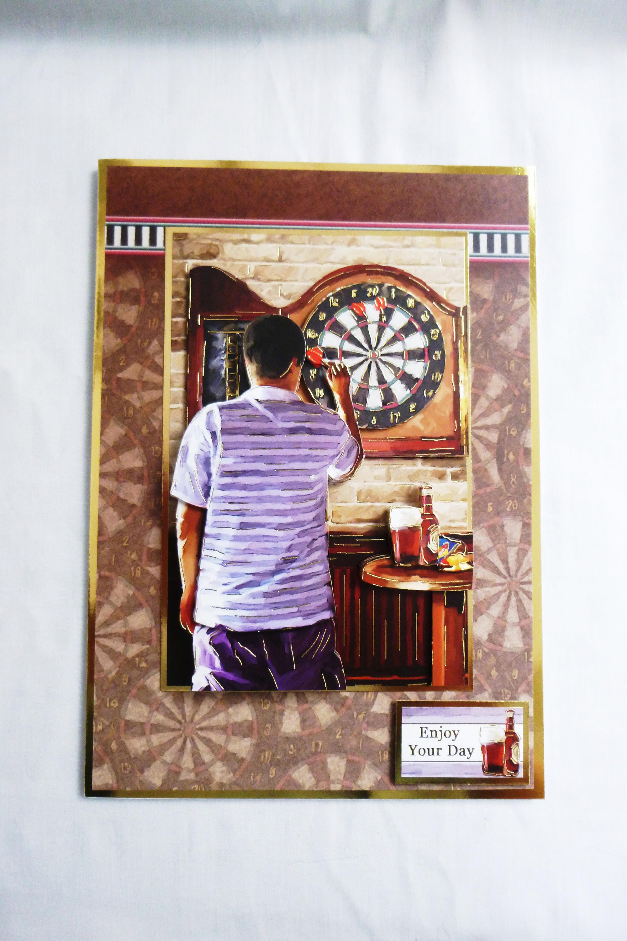 Pub Game 3d Decoupage Card Birthday Card Darts Game Bulls Eye