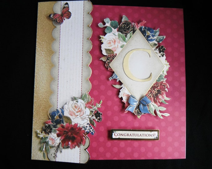 Floral Birthday Card, Congratulations Card, Especially For You, Special Day, Initial Card, Handmade In The UK,