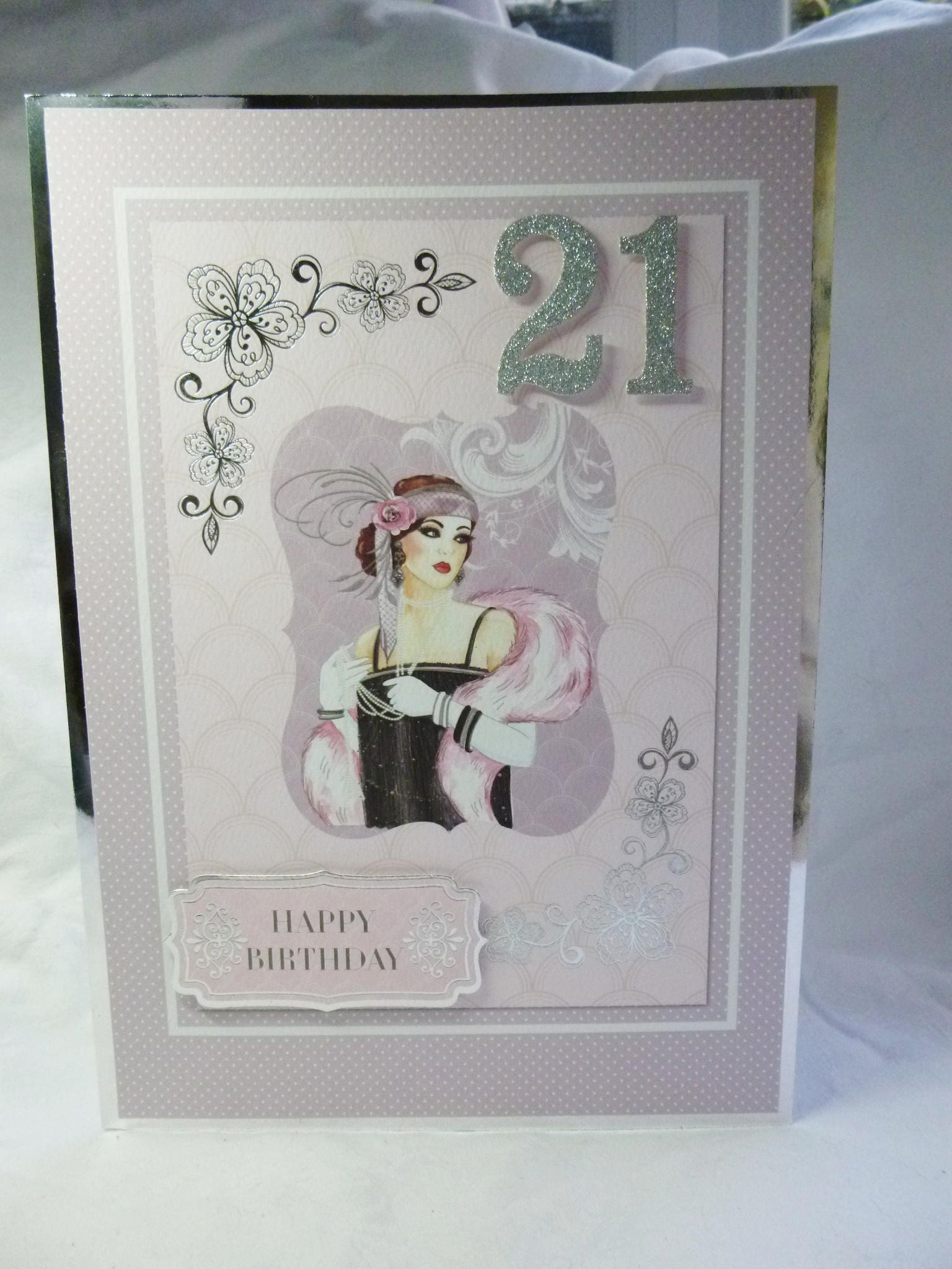 Art Deco 21st Birthday Card Happy Special Day Fashionable Lady Party Dress Pink And Silver A4 Size Made To Order