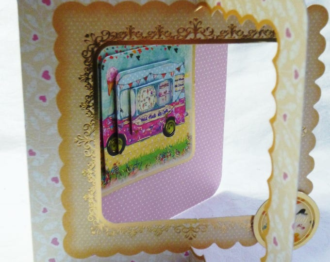 Ice Cream Van, Pyramid Decoupage, Birthday Card, Greeting Card, Best Wishes Card, female, Any Age, Mum, Sister, Daughter, Niece, Aunt