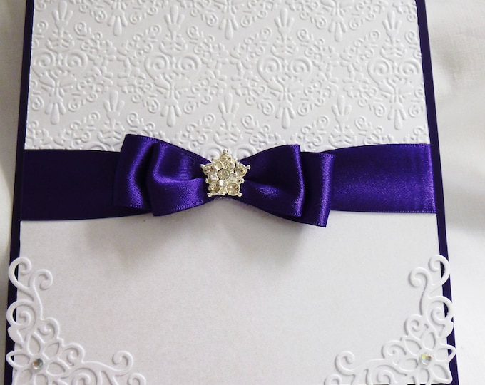 Wedding Day Card, Special Wedding Day, Celebration Card, Purple and White, Personalised, Gift Boxed,