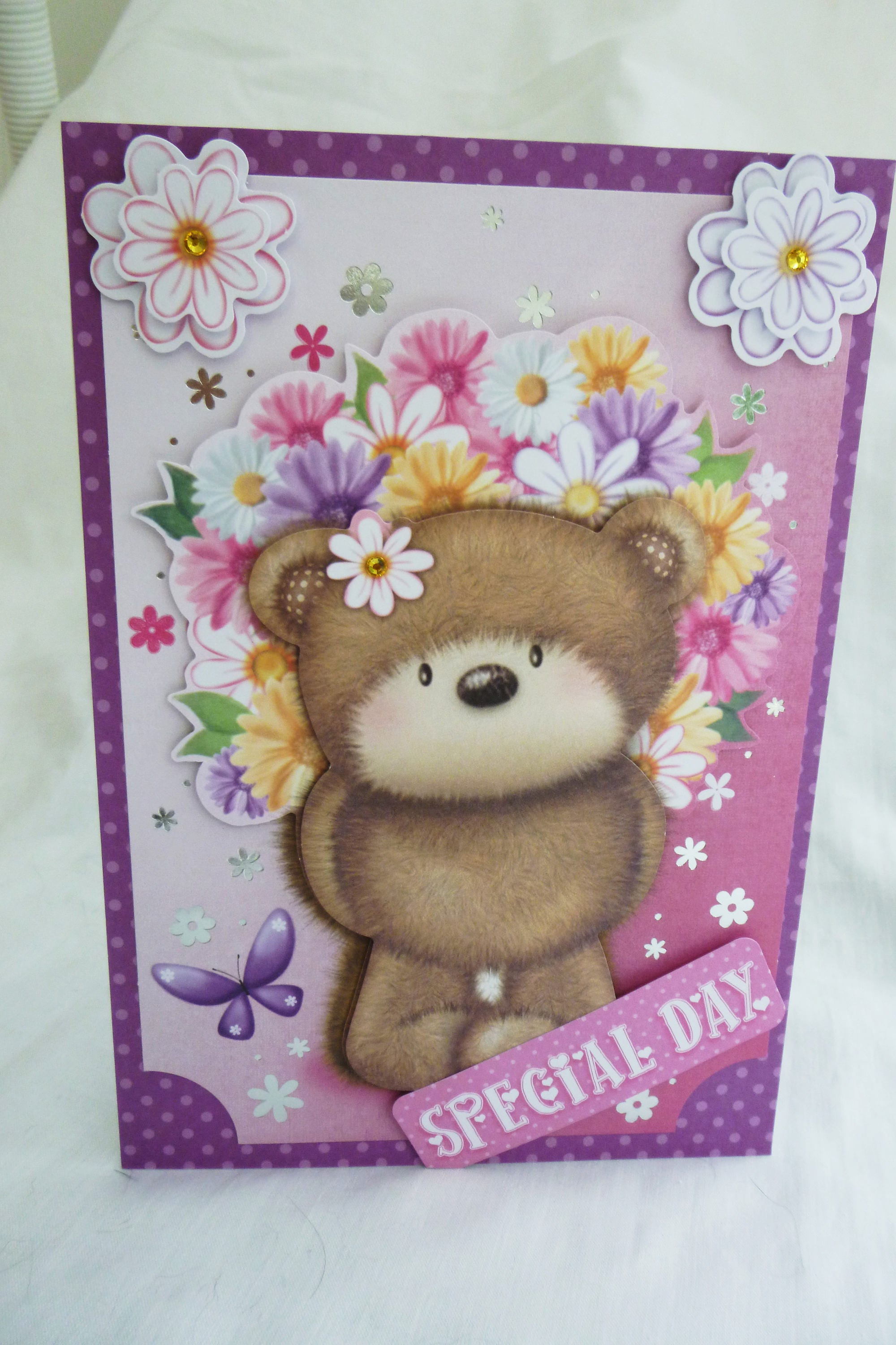 3d decoupage card birthday card greeting card brown bear with 3d decoupage card birthday card greeting card brown bear with flowers special day any age female mum daughter sister niece aunt m4hsunfo