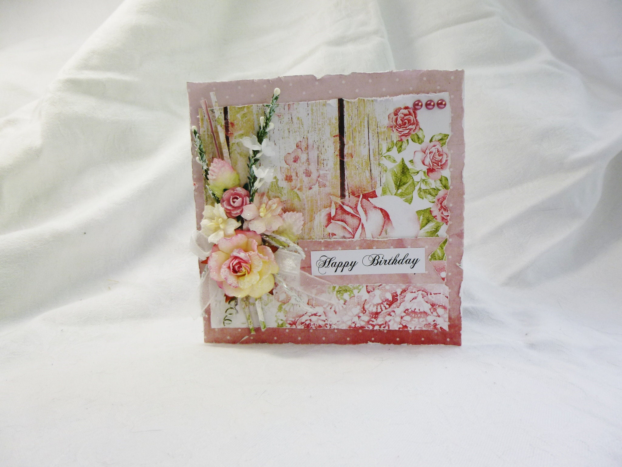 Shabby Chic Card Birthday Pink And White Happy Flowers Ribbon Pearls Beautiful For Any Female Age
