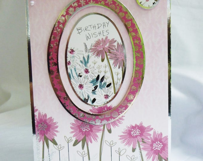 Floral Birthday Card, Greeting Card, Pink and White Flowers, Female, Any Age, Mum, Daughter, Sister, Niece, Aunt, Friend