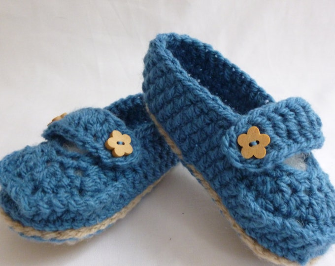 Handmade Crochet Loafers, Baby Shoes, Boy or Girl, Crochet Booties, Gift Boxed, Blue