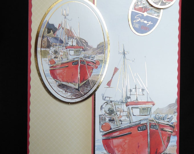 Red Fishing Boat, Red Boat, Harbour Scene, Especially For You, Special Day, Special Greetings, Birthday Wishes, Birthday Greetings.
