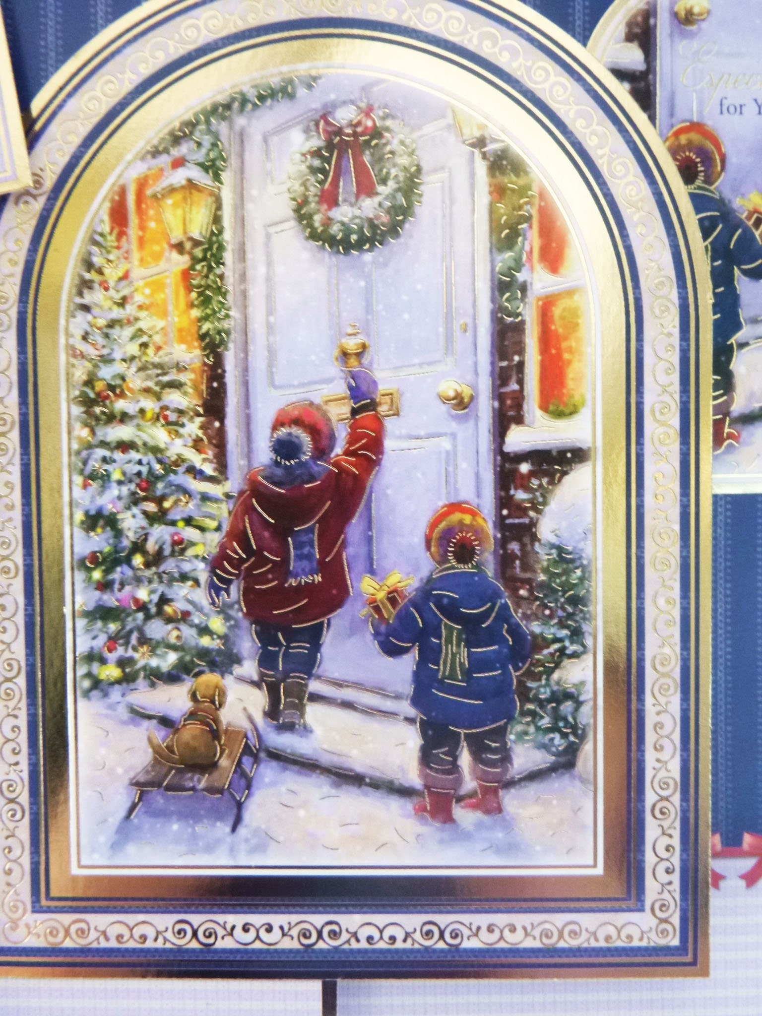 Traditional Christmas Card Two Children Knocking On A Door