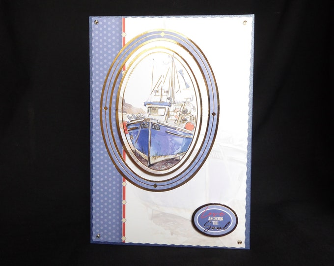 A Fishing Boat Card, Blue Boat Card, Fishing Boat, Sea Boat, Especially For You, Special Day Card, Special Birhtday, Handmade In The UK,