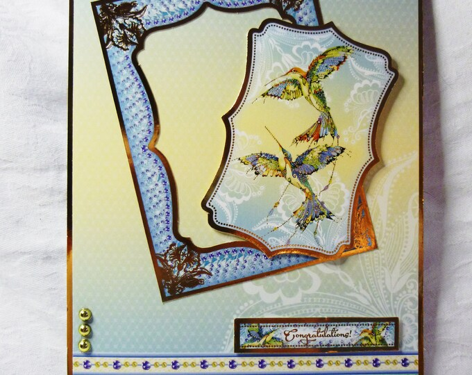 Oriental Style Anniversary Card, Engagement Card, Wedding Card, Any Occasion Card, Two Humming Birds, Celebration Card,