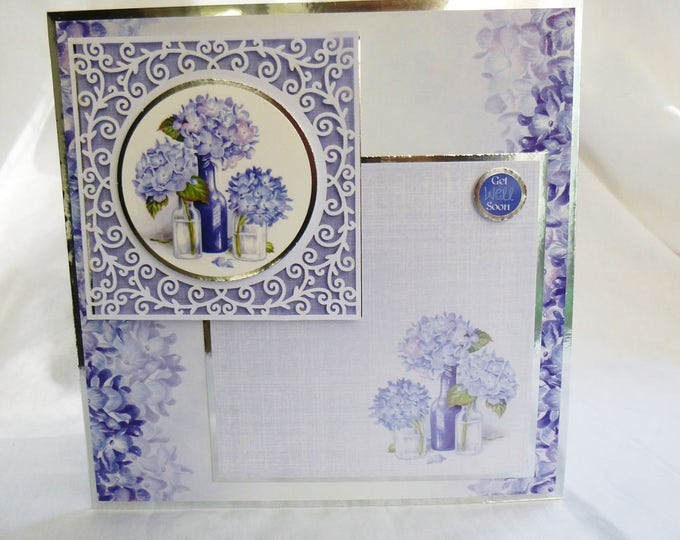 Get Well Soon, Decoupage Get Well Card, Filigree Frame, Blue and White, Personalised, Floral Card, Sorry Your Not Well,